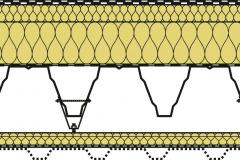 Typická skladba střešního pláště s akustickým podhledem ROOF ACOUSTIC CEILING pro rekonstrukce halových staveb: stávající střešní konstrukce (hydroizolace, tepelná izolace, parozábrana, nosná konstrukce – TR plech, příhradovina, nebo předpjatý panel), závěs + pomocný profil, akustická izolace ISOVER Akustic SSP2, nebo ISOVER Fassil NT, perforovaný podhledový TR plech