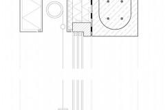 Detail okna 1 – Vnější omítka 5 mm; lepicí hmota 5 mm; tepelná izolace EPS 300 mm; stěrková parotěsná hmota 5 mm; pohledové betonové tvárnice 200 mm 2 – Tepelná izolace PIR 80 mm 3 – Tepelná izolace z fenolické pěny 20 + 40 + 40 mm 4 – Kompozitní kotevní úhelník