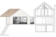 Řezy ukazují, že dispozice domu je poměrně složitá, navíc bylo třeba promyslet rozmístění oken