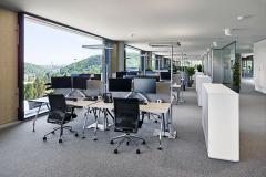 Rozeklaný půdorys zajistil dostatek klidných ploch v koncových polohách a má tak dostatečnou délku fasády, podél níž jsou umístěna trvalá pracoviště
