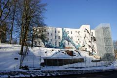 Okolí ZUŠ a KC LaRitma před úpravami – zimní pohled