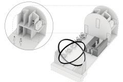 Prostorové řešení interiérů kobek a jejich otevření k nábřeží. V provozní pozici jsou okna zafixována v poloze 60°