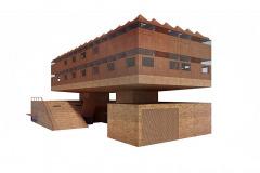 Obálku budovy tvoří cihly a panely z cortenu
