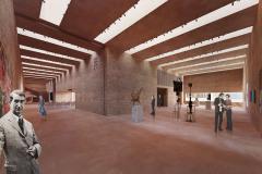Galerie pracuje především s horním osvětlením výstavních místností
