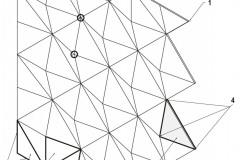Schéma perforované fasády 1 Rovný okraj fasády 2 Tři druhy atypických kazet po obvodu fasády, které tvoří rovnou linii 3 Kazeta – rovnoramenný trojúhelník se sklopeným lemem. Čtyři kazety tvoří tvar pyramidy. 4 Ocelové výztuhy kazety