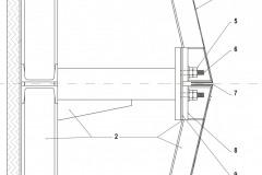 Řez fasádou 1 Hlukově pohltivá vrstva 2 Ocelová podkonstrukce 3 Výztužný plechový profil 4 Hliníkový plech tl. 2 mm 5 Kazeta je zajištěná matkou a kontramatkou 6 Uchycení kazety na závitový čep 7 Mezi kazetami je spára 4 mm 8 Ocelová výztuha v rohu kazety 9 Antivibrační pryžová podložka