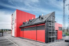 Budova se skládá ze vstupního modulu a výcvikového objektu s vertikální a horizontální halou