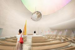Interiér architekt navrhl jako odhmotněný prostor tvarovaný světlem z horního kruhového okna