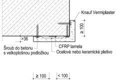 Požární ochrana CFRP lamel v nároží betonového prvku omítkou Knauf Vermiplaster
